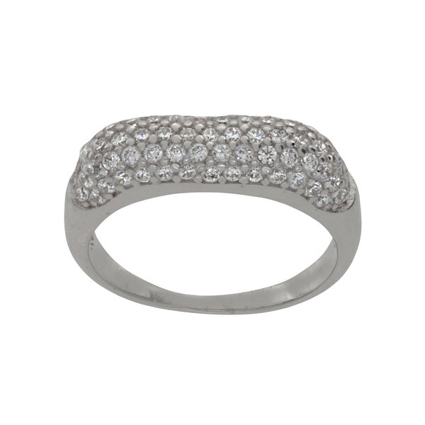 NEXTE Jewelry Silvertone Pave Cubic Zirconia August Evening Ring