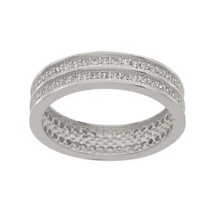 NEXTE Jewelry Silvertone Cubic Zirconia 2-row Railed Eternity Band
