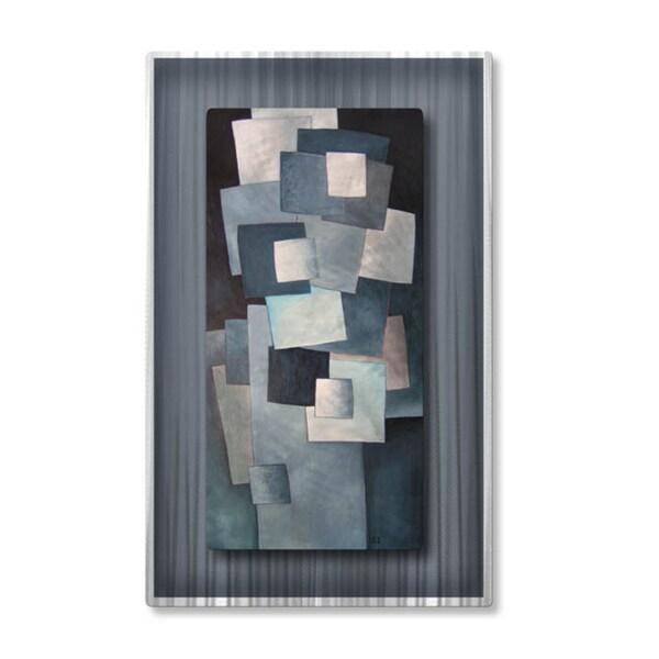 Lili Vanderlaan 'Grey Squares' Metal Wall Art