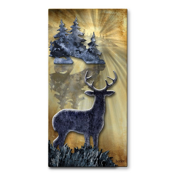 Josh Heriot 'Buck By The Lake' Metal Art