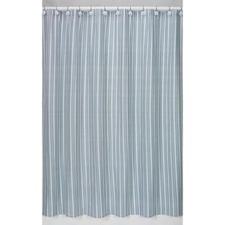 Blue and Green Stripe Cotton Shower Curtain