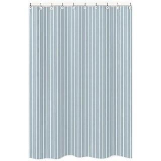 Sweet Jojo Designs Blue and Green Stripe Cotton Shower Curtain