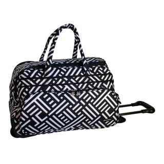 Jenni Chan Signature Black White 20-inch Soft Carry On Upright Duffel Bag