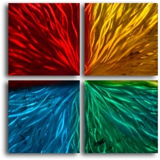 'Four Square Colored Ripples' Metal Wall Art