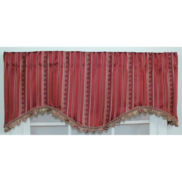Stripe Fire Red Cornice Valance