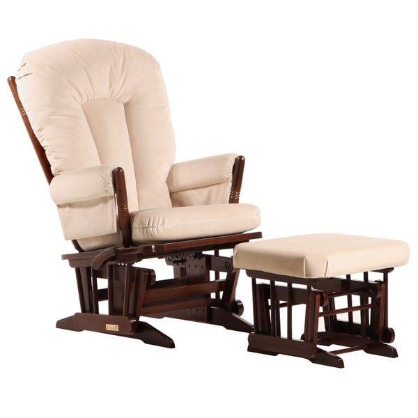 Dutailier Ultramotion Coffee/ Light Beige Multiposition 2-post Glider and Ottoman Set