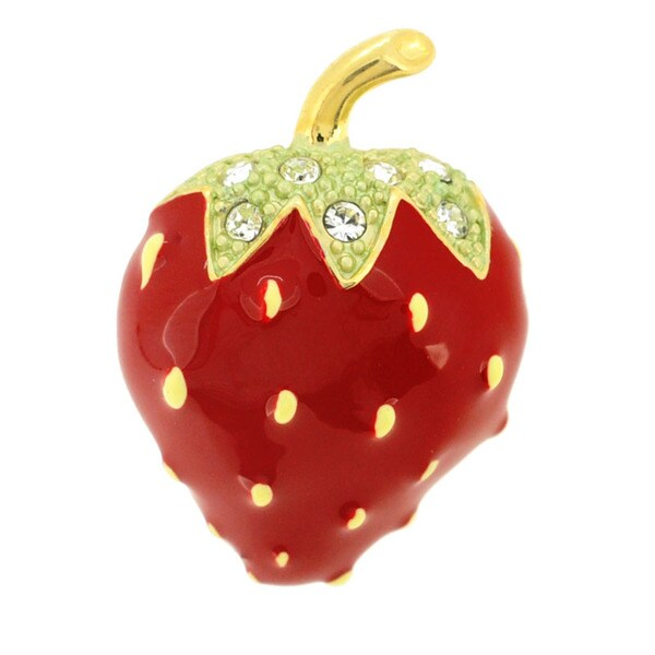 Goldtone Red Enamel and Clear Crystal Strawberry Brooch