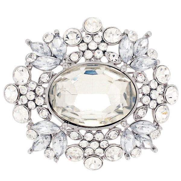 Australian Crystal 'Moonlight Flower' Pendant Brooch (Chain Not Included)