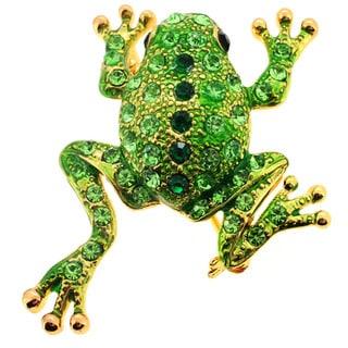 Crystal Green Frog Brooch Pin