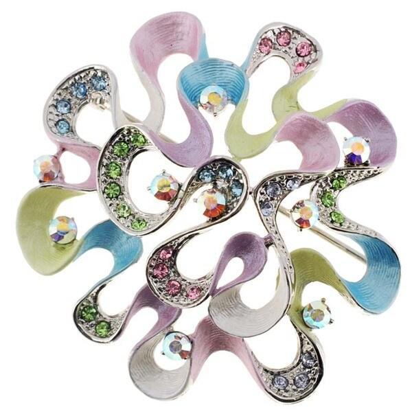 Multicolor Flower Pin Crystal Pin Brooch