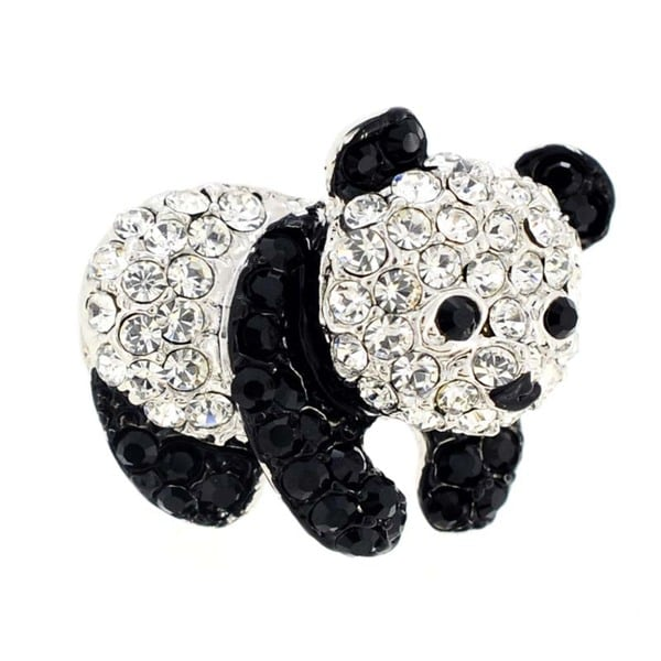 Panda Tag Pin Crystal Brooch