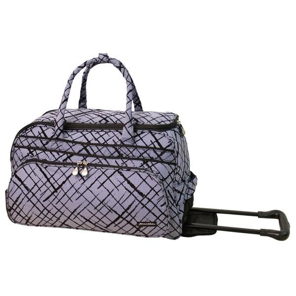 Jenni Chan Women's Brush Strokes Blue 20-inch Carry On Rolling Upright Duffel Bag