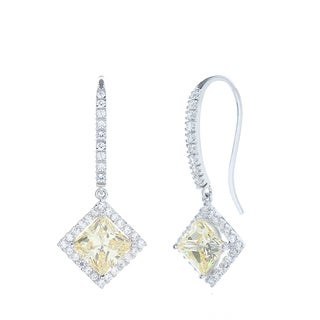 Sterling Silver Canary Cubic Zirconia Dangle Earrings