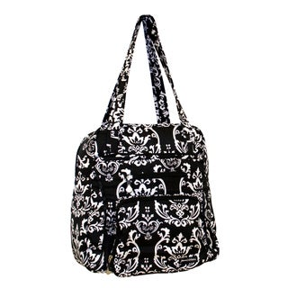 Jenni Chan Women's Black Damask Print Soft Gym Tote Bag