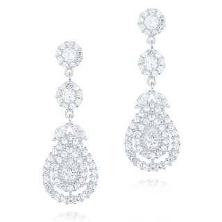 Blue Box Jewels Rhodiumplated Silver Cubic Zirconia Chandelier Earrings