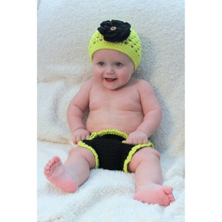 Sugarbaby Lime Flower Ruffle Crocheted Beanie and Diaper Set