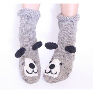Grey Fleece Puppy Socks (Nepal)