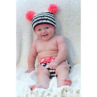 Sugarbaby Pom Pom Zebra Crocheted Beanie and Diaper Set