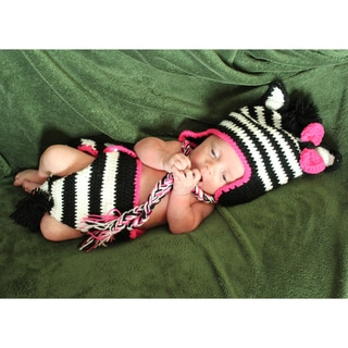 Girl's Baby Zebra Zeb Crocheted Beanie and Diaper Set