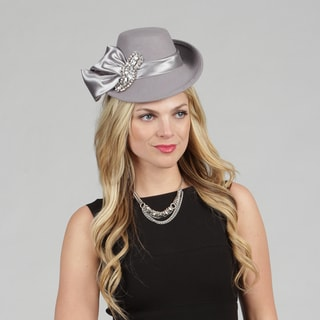 Swan Women's Grey Wool Blend Fascinator with Crystal Rhinestone Pin