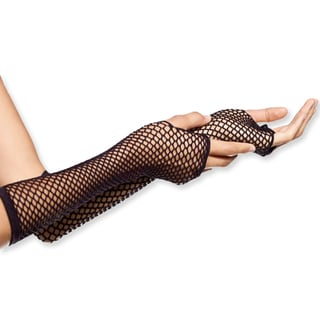 Private Island Women's Black Fishnet Fingerless Gloves