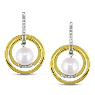 Miadora Sterling Silver Pearl and 1/6ct TDW Diamond Earrings (H-I, I2-I3)