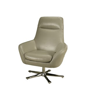 Ellejoyce Light Grey Leather Club Chair