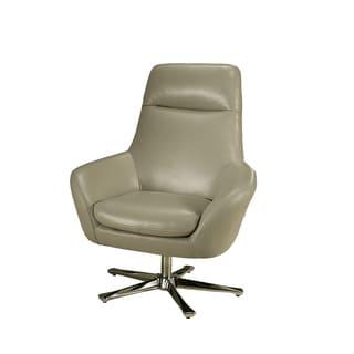 Ellejoyce Light Grey Leather Club Chair