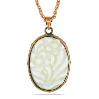 Miadora Bronzetone Carved Mother of Pearl Necklace