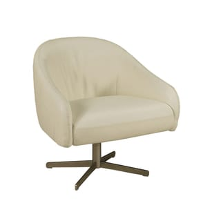 Dawsonville White Leather Club Chair