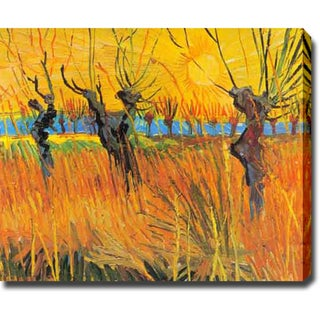 Vincent van Gogh 'Pollarded Willows and Setting Sun' Oil on Canvas Art
