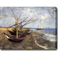 Vincent van Gogh 'Fishing Boats on the Beach at Saints-Maries' Oil on Canvas Art