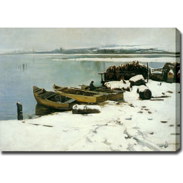 Jaime Morera Galicia 'Snowy Bank of Lake Trasimeno' Oil on Canvas Art