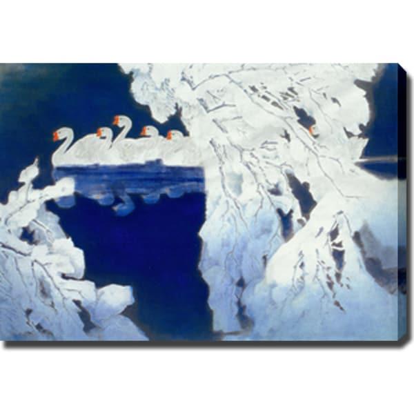 White Swans' Oil on Canvas Art