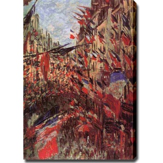 Claude Monet 'Rue Montargueil with Flags Painting' Oil on Canvas Art