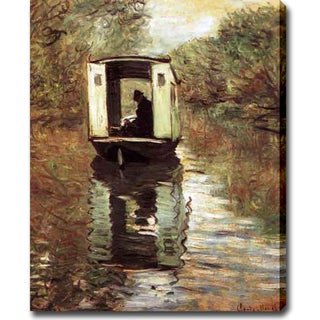 Claude Monet 'The Boat Studio' Oil on Canvas Art