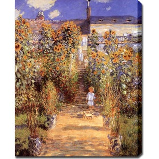 Claude Monet 'The Garden at Vetheuil' Oil on Canvas Art
