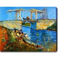Vincent van Gogh 'Pont de l'Anglois at Arles with Washerwomen' Oil on Canvas Art