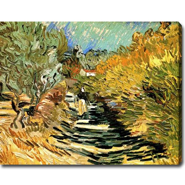 Vincent van Gogh 'A Road at Saint-Remy with Female Figure' Oil on Canvas Art