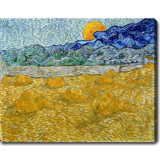 Vincent van Gogh 'Landscape with Wheat Sheaves and Rising Moon' Oil on Canvas Art