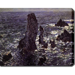 Claude Monet 'Cliffs at Belle-lle' Oil on Canvas Art