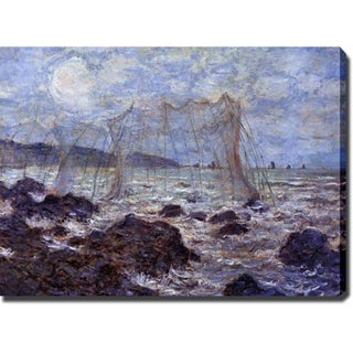 Claude Monet 'Fishing Nets at Pourville' Oil on Canvas Art