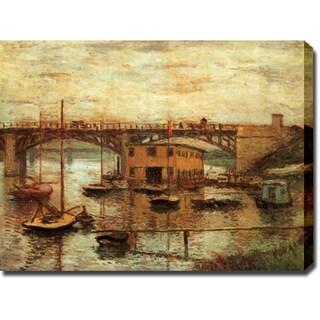 Claude Monet 'Le Pont d'Argenteuil, Temps Gris' Gallery-wrapped Canvas Art