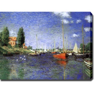 Claude Monet 'Red Boats at Argenteuil Repro' Gallery-wrapped Canvas Art