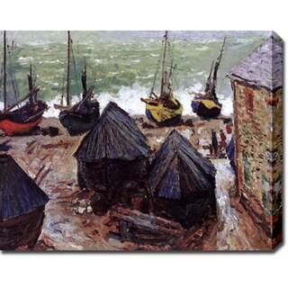 Claude Monet 'Boats in Winter Quarter, Etretat' Gallery-wrapped Canvas Art
