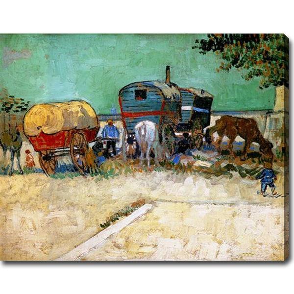 Vincent van Gogh 'The Caravans - Gypsy Camp near Arles' Oil on Canvas Art