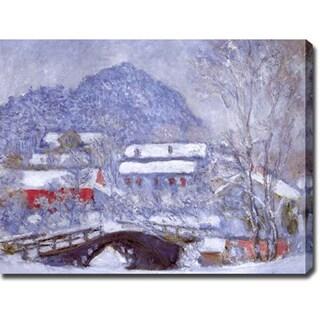 Claude Monet 'Sandviken Village in the Snow' Oil on Canvas Art