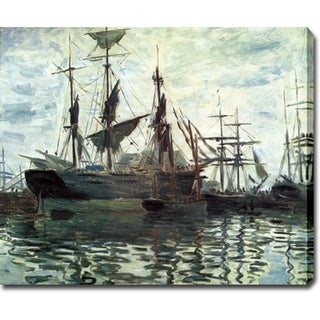 Claude Monet 'Ships in Harbor' Oil on Canvas Art