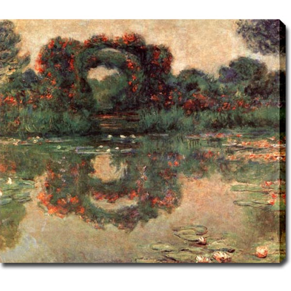 Claude Monet 'Rose Arches at Giverny' Oil on Canvas Art