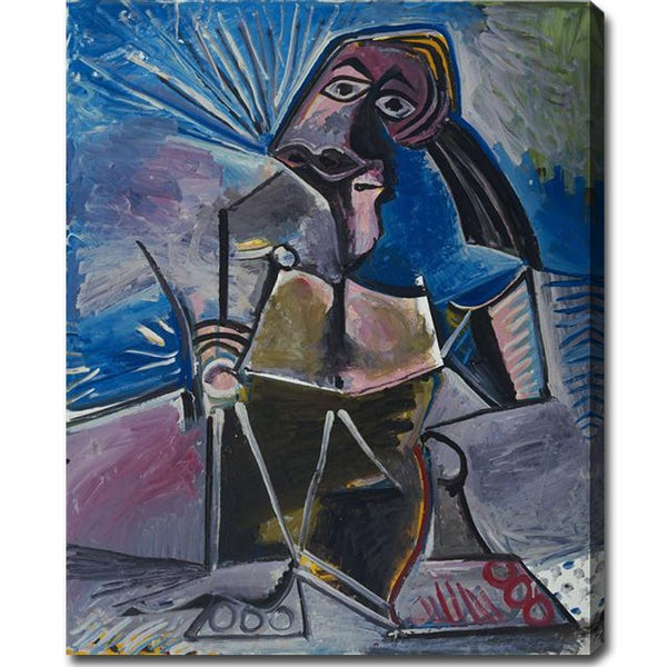 Pablo Picasso 'At Work' Oil on Canvas Art